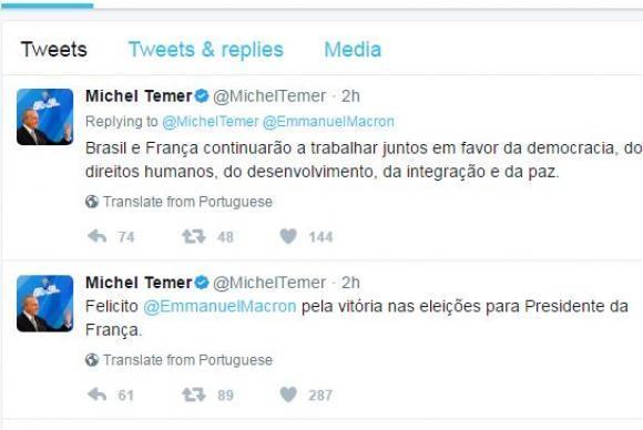 Temer parabeniza Macron e diz que Brasil e França continuarão a trabalhar juntos