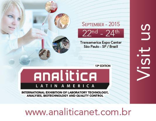 Feira Internacional de Tecnologia para Laboratórios, Análises, Biotecnologia e Controle de Qualidade,22 a 24 de setembro de 2015,São Paulo,Brasil.