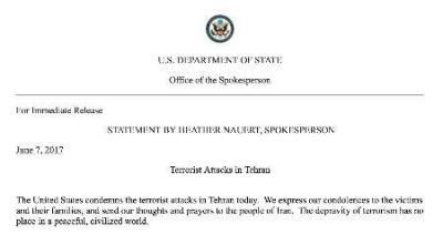 Departamento de Estado dos EUA condena atentados terroristas em Teerã