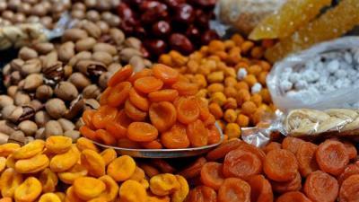 Frutas secas iraniano em exibição na Rússia exposição de alimentos.