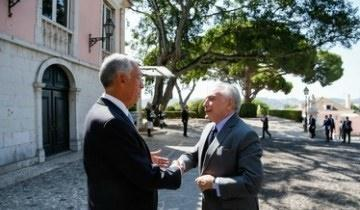 Michel Temer se encontra com o presidente português em Lisboa